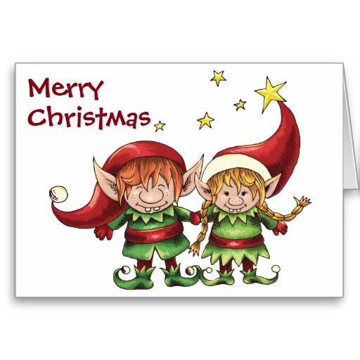 Cute Elf Couple Merry Christmas Greeting Card Merry christmas