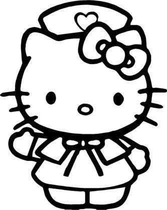 Pinto Dibujos: Hello Kitty de enfermera para colorear | Hello kitty ...