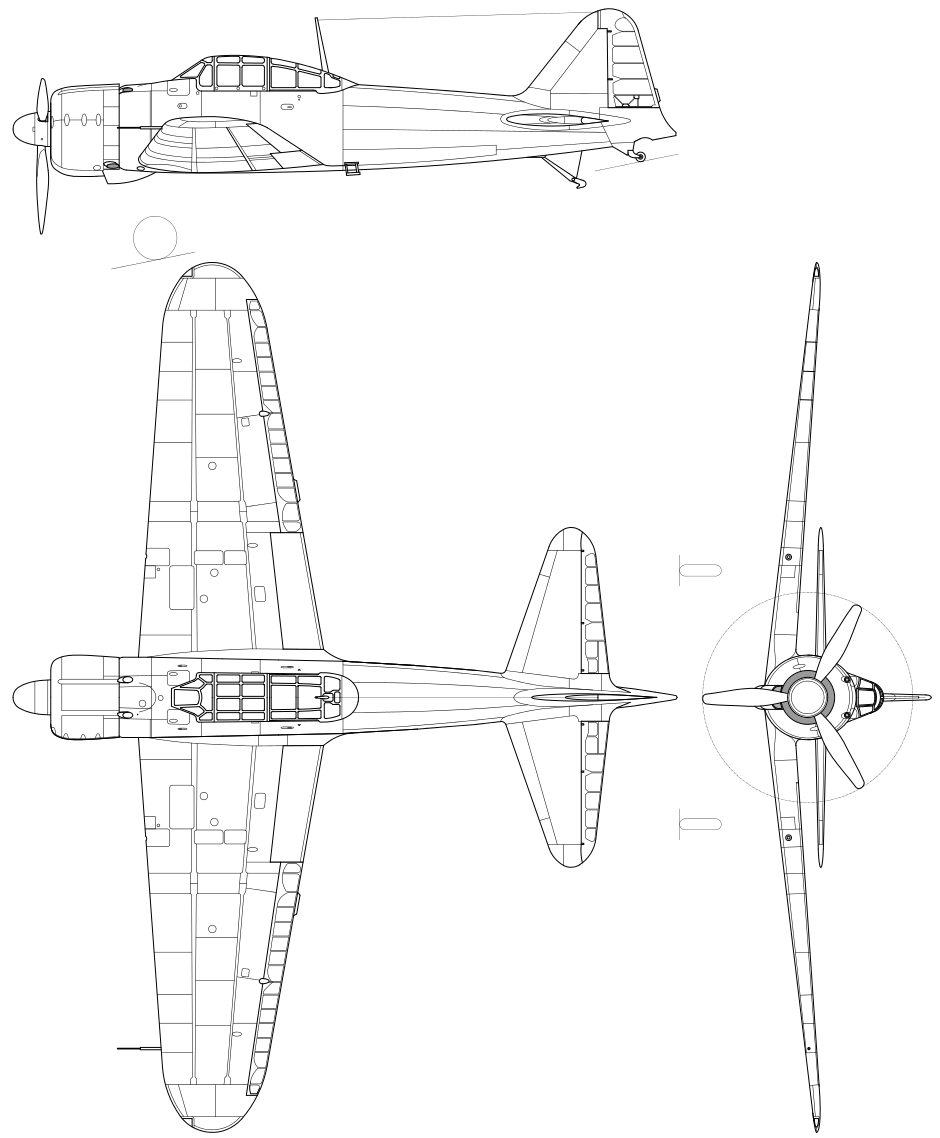orthographically projected diagram of the mitsubishi a6m zero [ 940 x 1138 Pixel ]