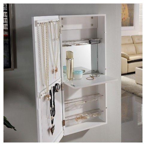 Danya B Over The Door Jewelry And Makeup Cabinet Mirror With Interior Drop