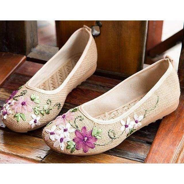 Women Summer Vintage Flats Canvas Floral Shoes Summer Pumps Loafers Comfy Size