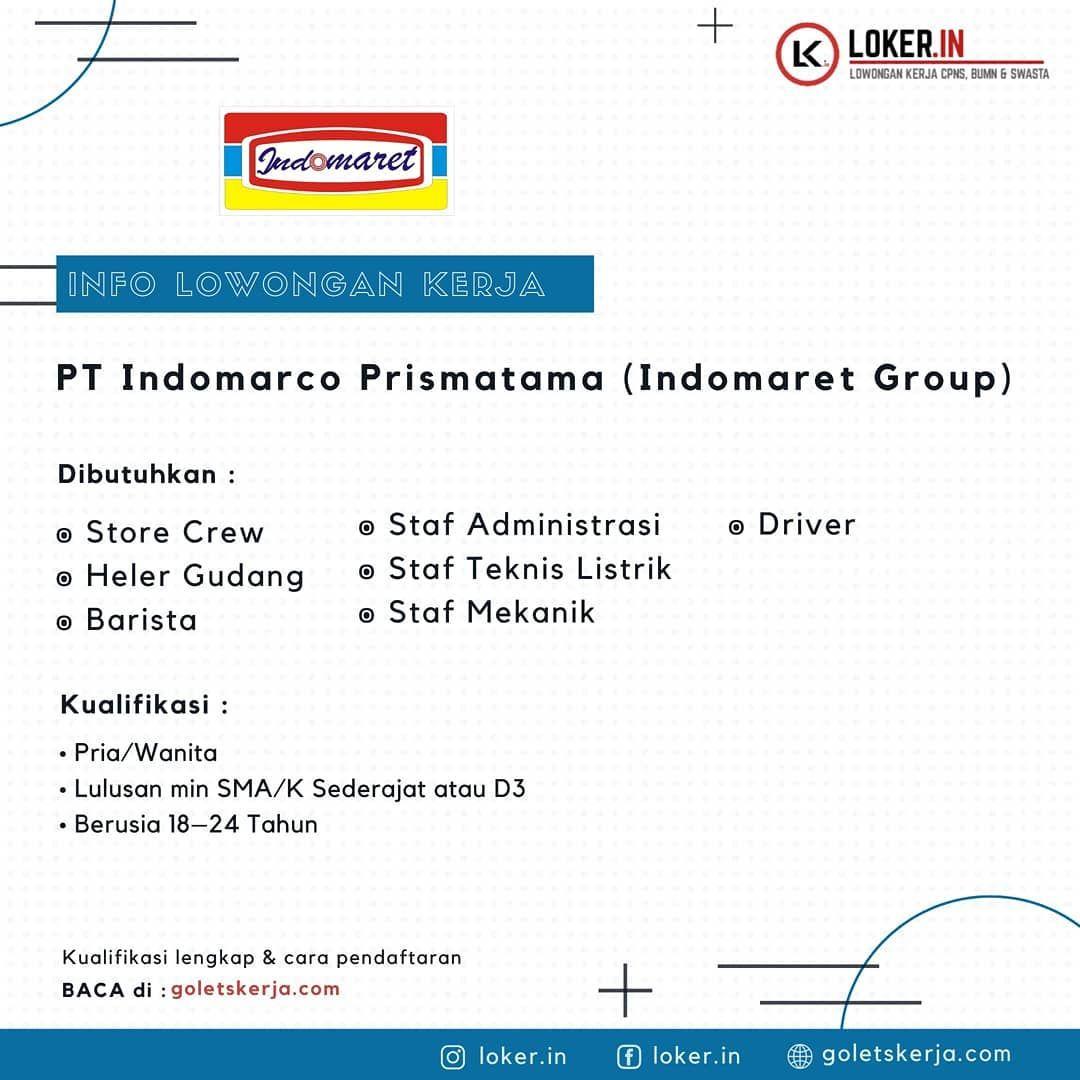 Lowongan Kerja Pt Indomarco Prismatama Indomaret Group Dibutiuhkan 1 Store Lowongan Kerja Pt Indomarco Prismatama Indomare Barista Daftar Bacaan Sma