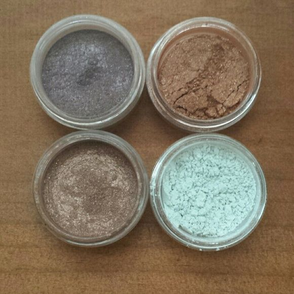Bare Minerals eyeshadows Set of 4. Used only a few times. All are clean and ready to ship!  Bare Minerals eye color in Idol 1st swatch Bare Minerals liner shadow in Downtown 2nd swatch Bare Minerals glimmer in Pamper 3rd swatch Bare Minerals eye color in Reflection 4th swatch Makeup Eyeshadow