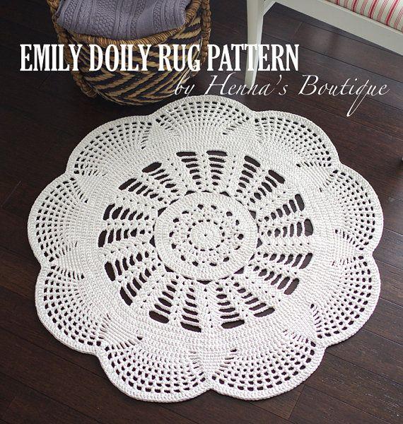 Crochet Doily Rug Pattern EMILY 37 inch rug by hennasboutique
