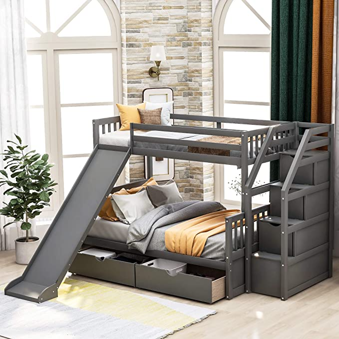Amazon.com Twin Over Full Bunk Bed with Stairs and ...