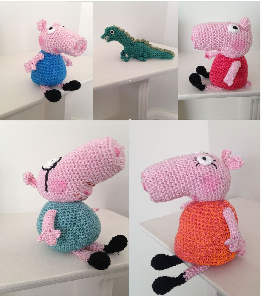 Peppa Pig and family from pattern by Sabrina Boscolo on Ravelry, enlarged for mummy and daddy pig and decreased for George. Dinosaur from Drops pattern, www.garnstudio.com