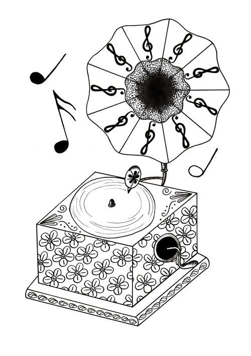 Vintage Gramophone Adult Coloring Page | coloring pages | Pinterest