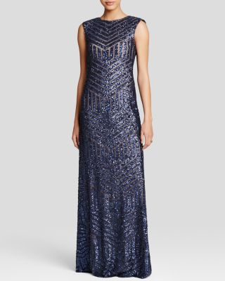 Navy MOB dress - Vera Wang Gown - Sleeveless Sequin Embellished   Bloomingdale's