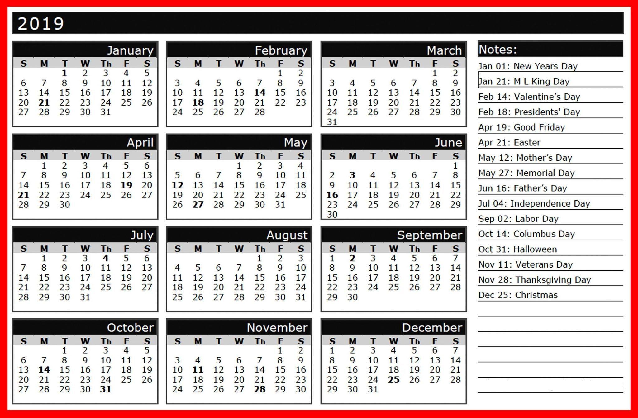 Calendar 2019 Free Printable With Holidays Free Printable