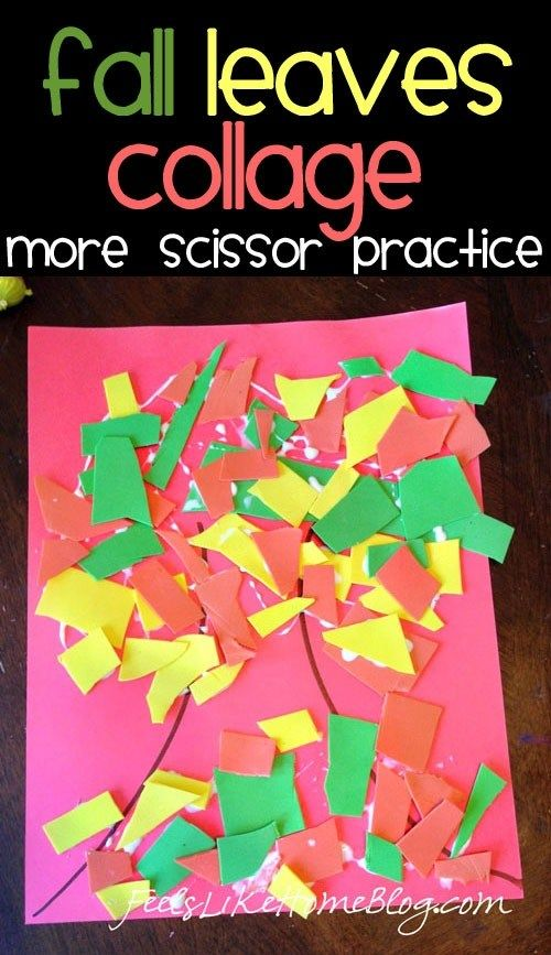 Fall Leaves Collage for Scissor Practice & Preschool Books about Trees #creativeartsfor2-3yearolds