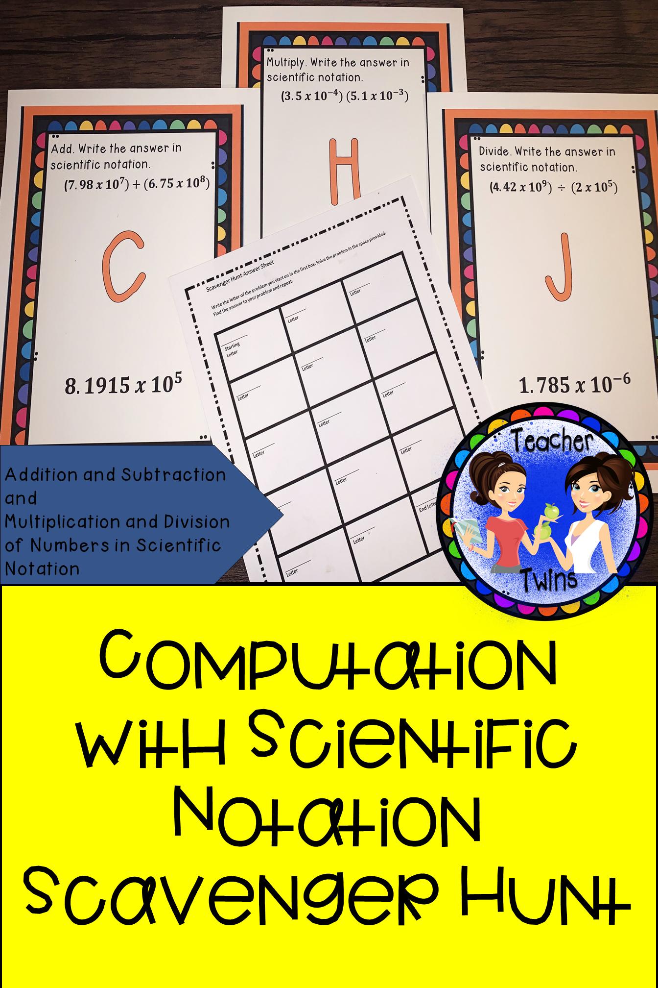 Predownload: Computation With Numbers In Scientific Notation Scavenger Hunt Pre Algebra Activities Maths Activities Middle School Scientific Notation [ 2016 x 1344 Pixel ]