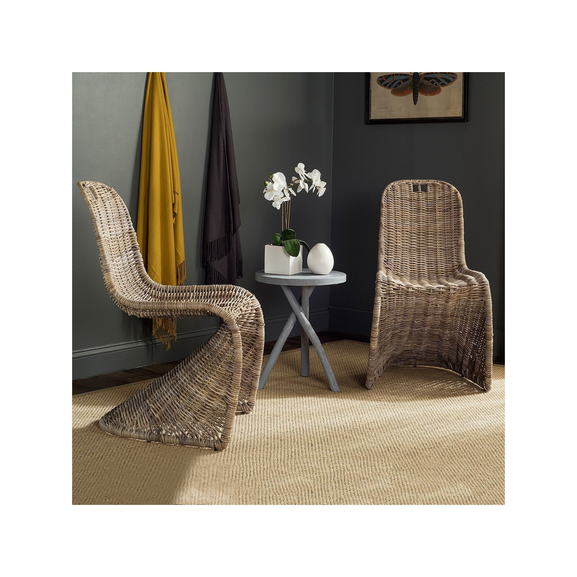 Korbstuhl Esszimmer Safavieh Cilombo Wicker Dining Chair 2 Piece Set Products