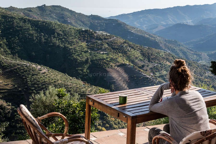enjoying the view from the terrace after work, Spain Europe