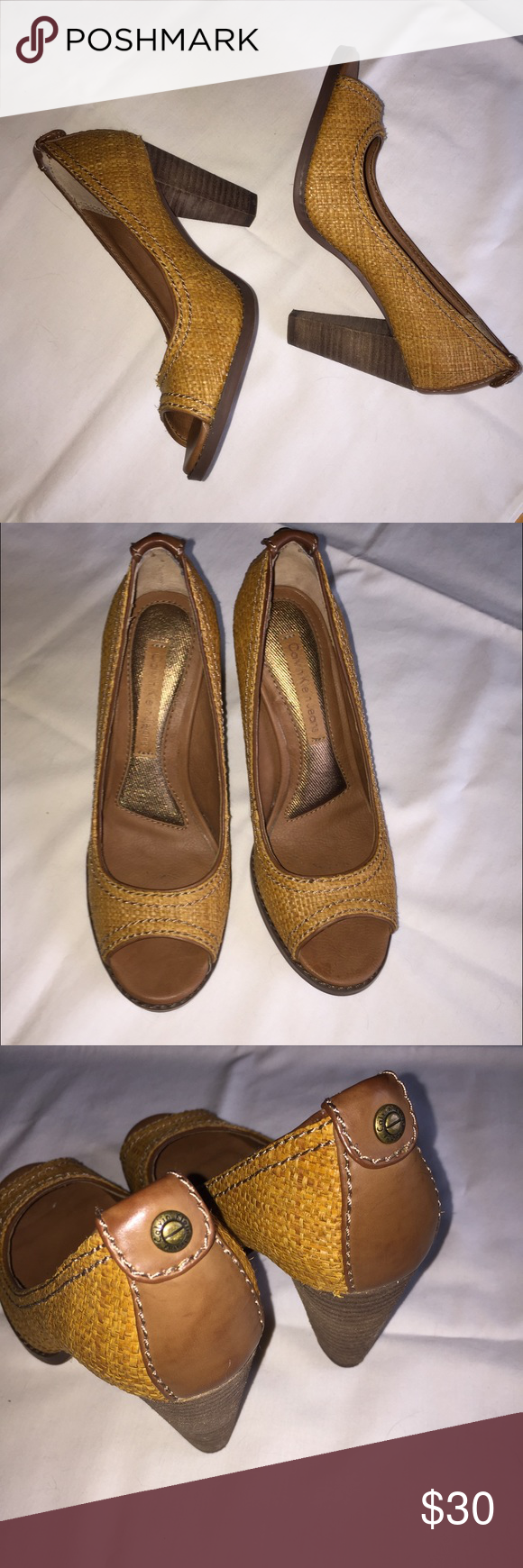 Calvin Klein HOBO heels These are very comfortable. They have extra padding inside the heel. I never wore them. They have a wicker look. I selected tan and brown for the colors. The shoes kind a have a mustard yellow look. They look great with denim jeans Calvin Klein Shoes Heels