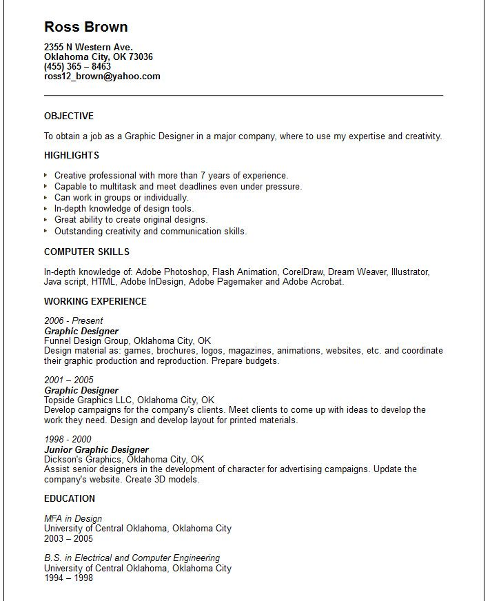 Resume Examples Pdf Creative Arts And Graphic Design Resume Examples Sample Designer