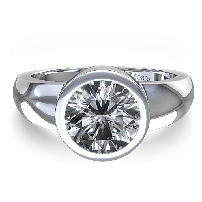 Round Bezel Set Engagement Rings Bezel Set Round Diamond