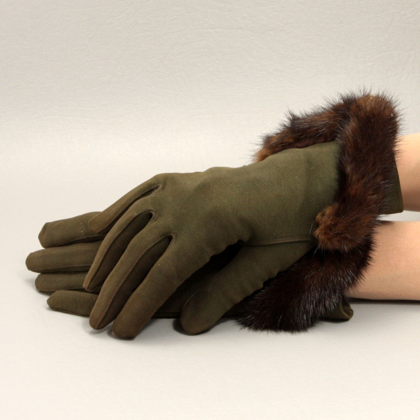 Brown w Fur Trim Vintage Gloves Sz 6 Over the Wrist Cotton