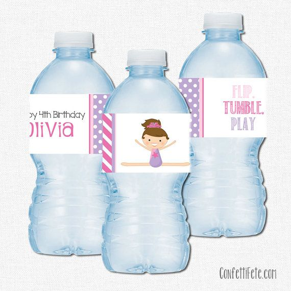 Gymnastics Water Bottle Labels, Gymnastics Girl Party Decorations, Birthday…