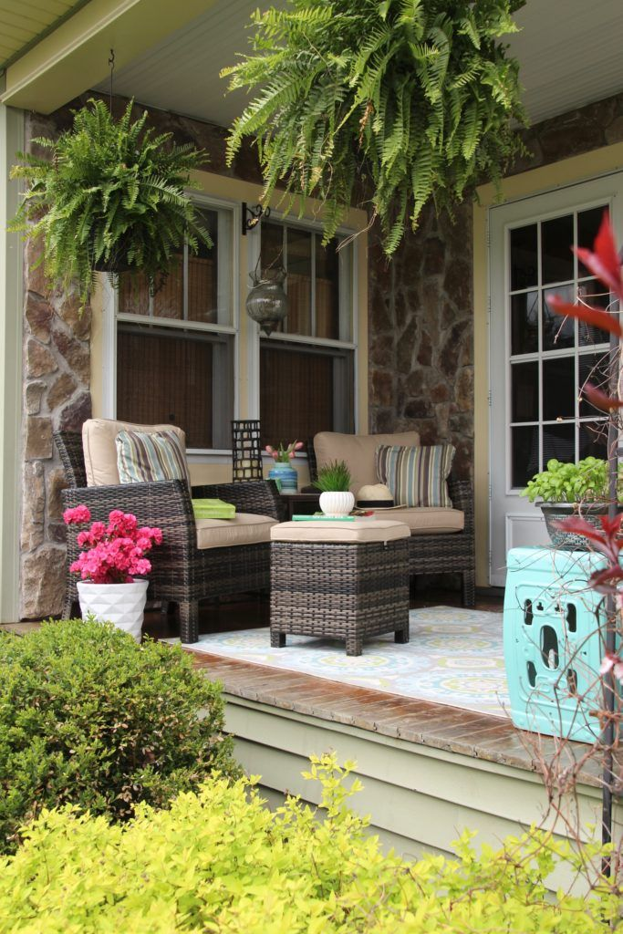 Create The Most Beautiful Front Porch With Raymour Flanigan Spring Front Porch Curb Appeal Reveal New Furniture Outd Curb Appeal Outdoor Rugs Porch Makeover