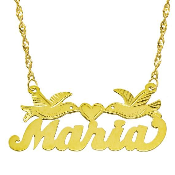 10e653c4d6c8b2 14K Yellow Gold Personalized Name Plate Necklace, Custom Name Necklace