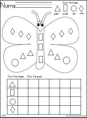 butterfly shapes graph for spring math teacher ideas kindergarten worksheets kindergarten. Black Bedroom Furniture Sets. Home Design Ideas