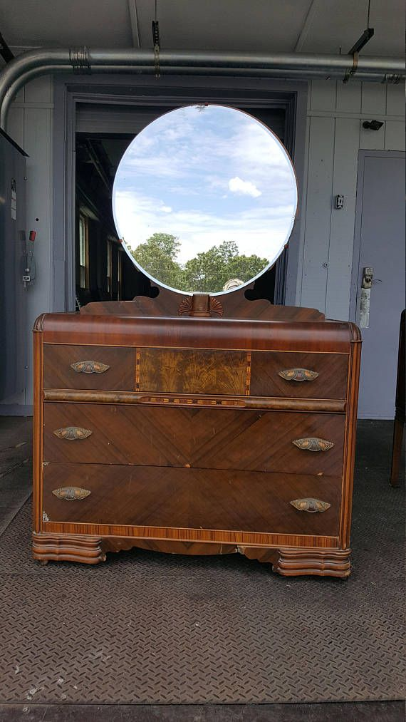 Antique Art Deco Dresser With Mirror Vintage Waterfall Cedar Wood
