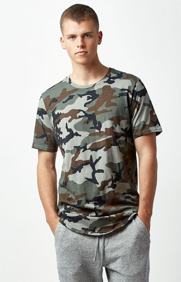 9345935f PacSun All Day Camouflage Extended Length Scallop T-Shirt | Products ...