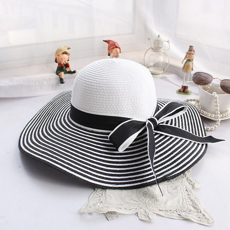 2019 Summer Fashion Wind Black White Striped Bow Summer Sun hat Beautiful Straw hat Beach hat Large Cap Visor