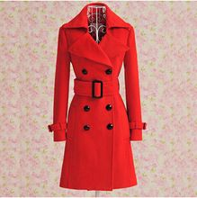 1b9b96f5f1728 Chaquetas mujeres otoño e invierno ropa nuevas mujeres de rojo cruzado  abrigo de lana chaqueta con la correa envío gratis(China (Mainland))