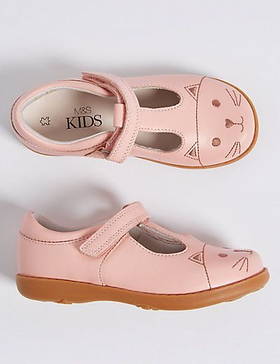 Kids' Leather Riptape T-Bar Shoes | M\u0026S