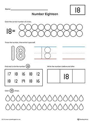 Number 18 Practice Worksheet | Number worksheets, Math and Children
