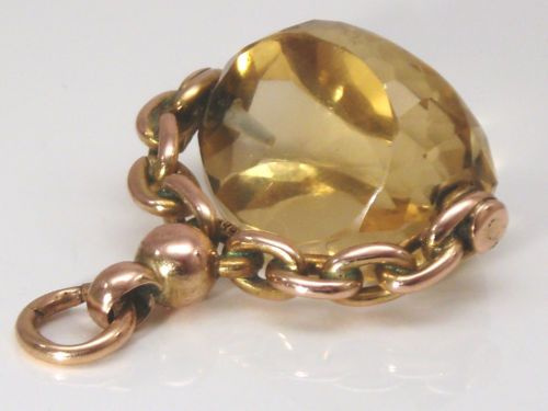 1870 9CT GOLD CITRINE SWIVEL WATCH FOB