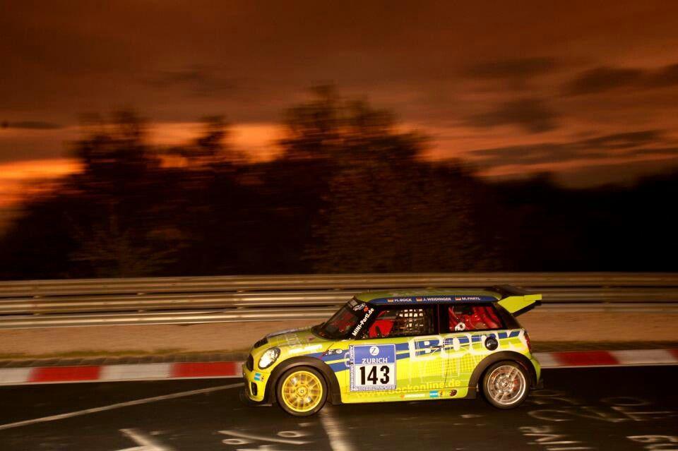 Racing the night away.