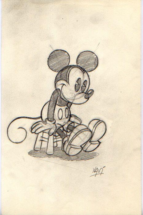 Xavier Vives Mateu - Original study-sketch - Mickey sitting