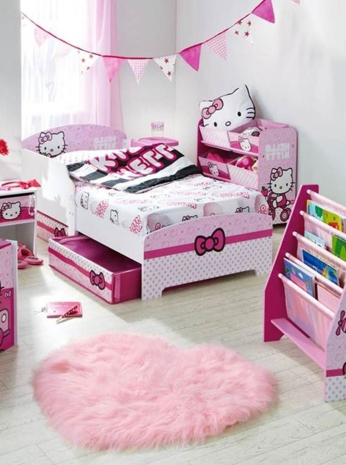Pink Curtains Children for Cute Hello Kitty Bedroom Decoration