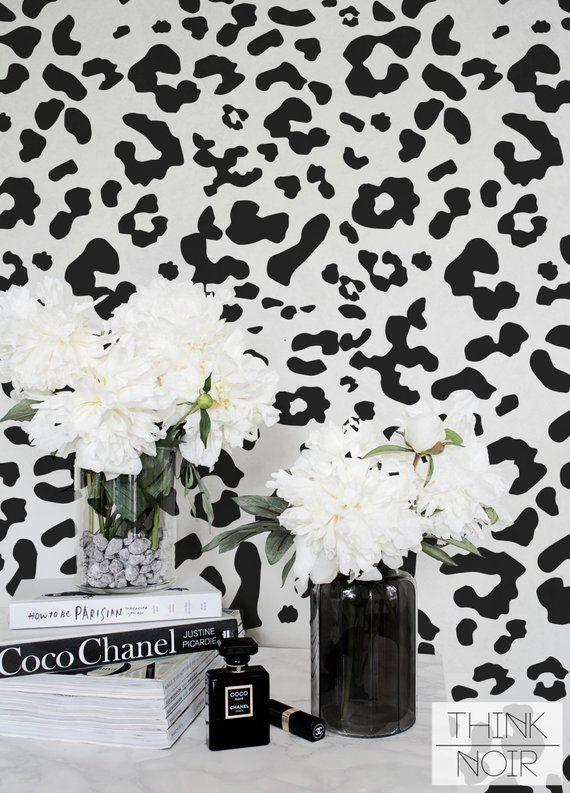 Animal Print Wallpaper Regular Self Adhesive Black Animal Etsy Animal Print Wallpaper Print Wallpaper Leopard Print Wallpaper