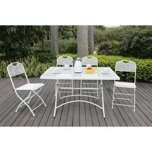 FINLANDEK Ensemble table de jardin 120 + 4 chaises blanc - HIENO ...