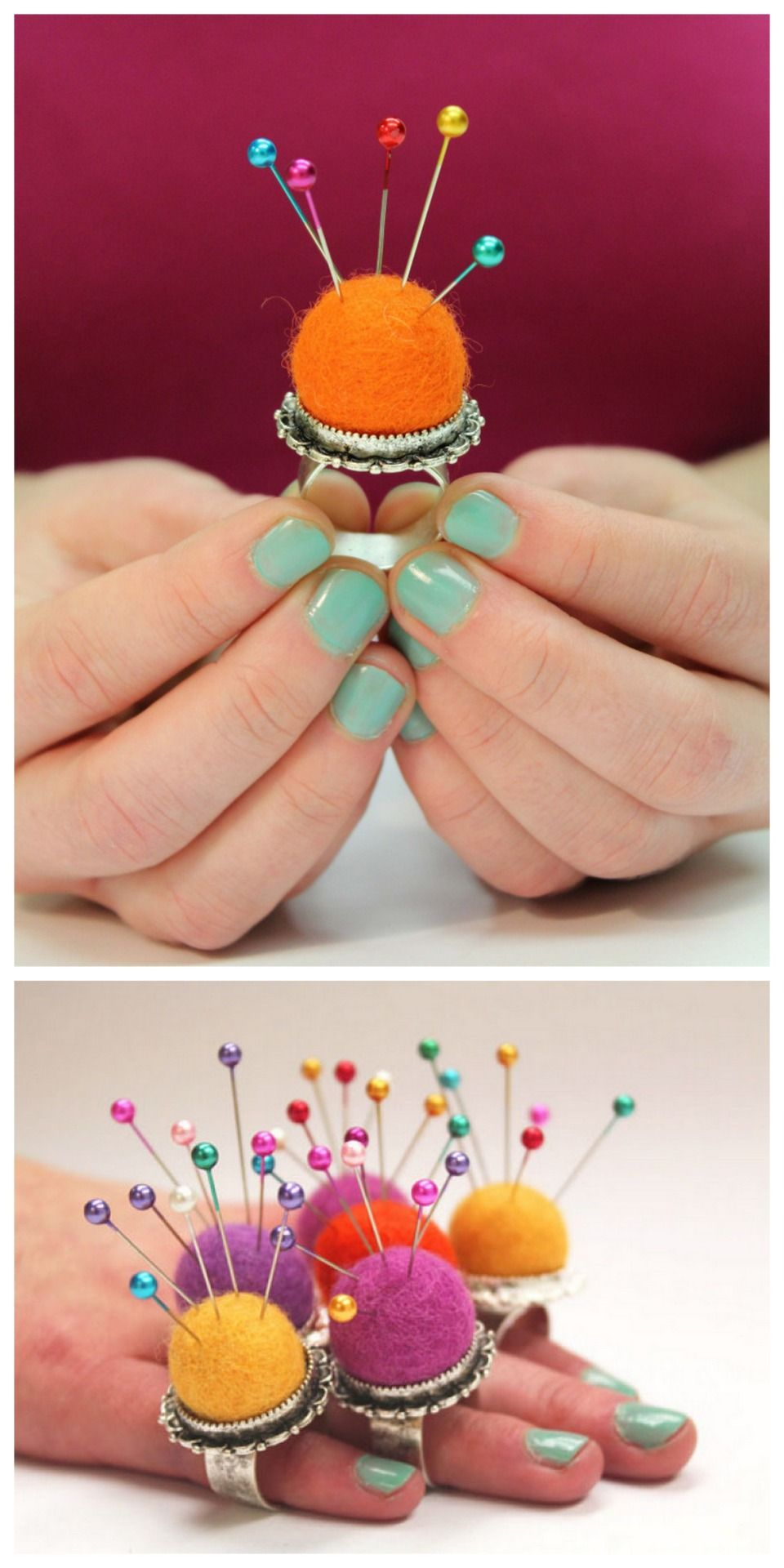 DIY Pincushion RIng Tutorial from I Always Pick the