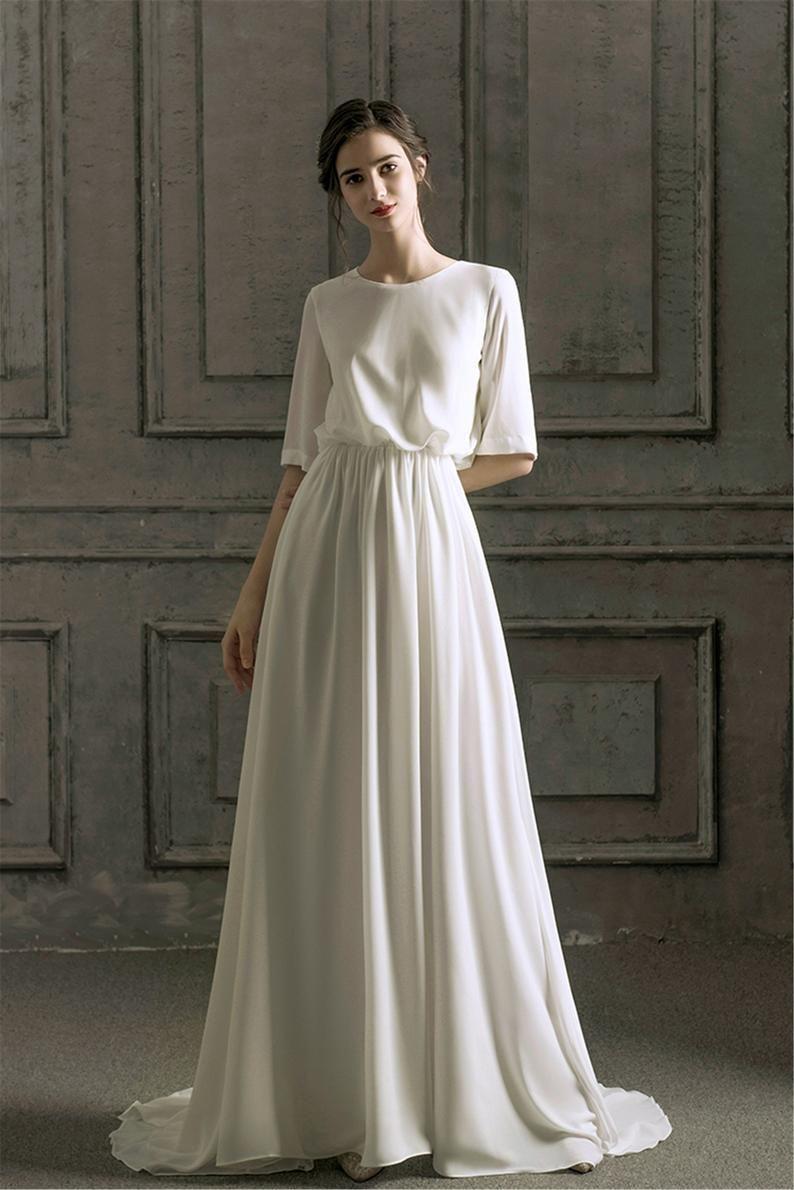 Romatic Chiffon Wedding Dress Long Half Sleeves Bridal Dress Etsy In 2021 A Line Wedding Dress With Sleeves Simple Elegant Wedding Dress Knee Length Wedding Dress [ 1190 x 794 Pixel ]