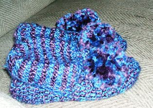 These slippers are done with Double Ended Crochet Hook.  See the difference in the front side and back side.