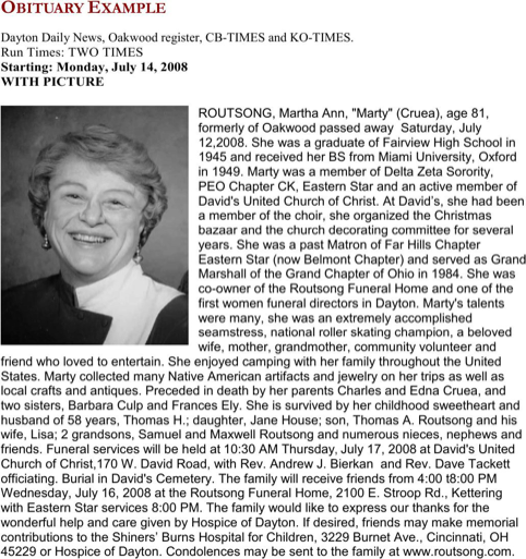 Obituary Example Templatesforms Pinterest