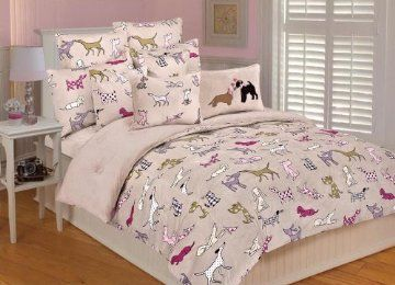 cute girly dog themed bedroom bedding duvet cover in pink with dog pattern