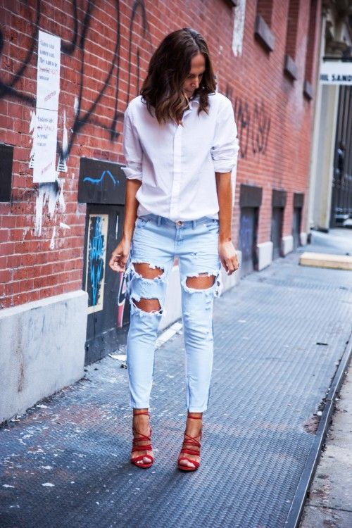 White Shirt Ripped Jeans Red Heels Fashion Fashion Looks Style