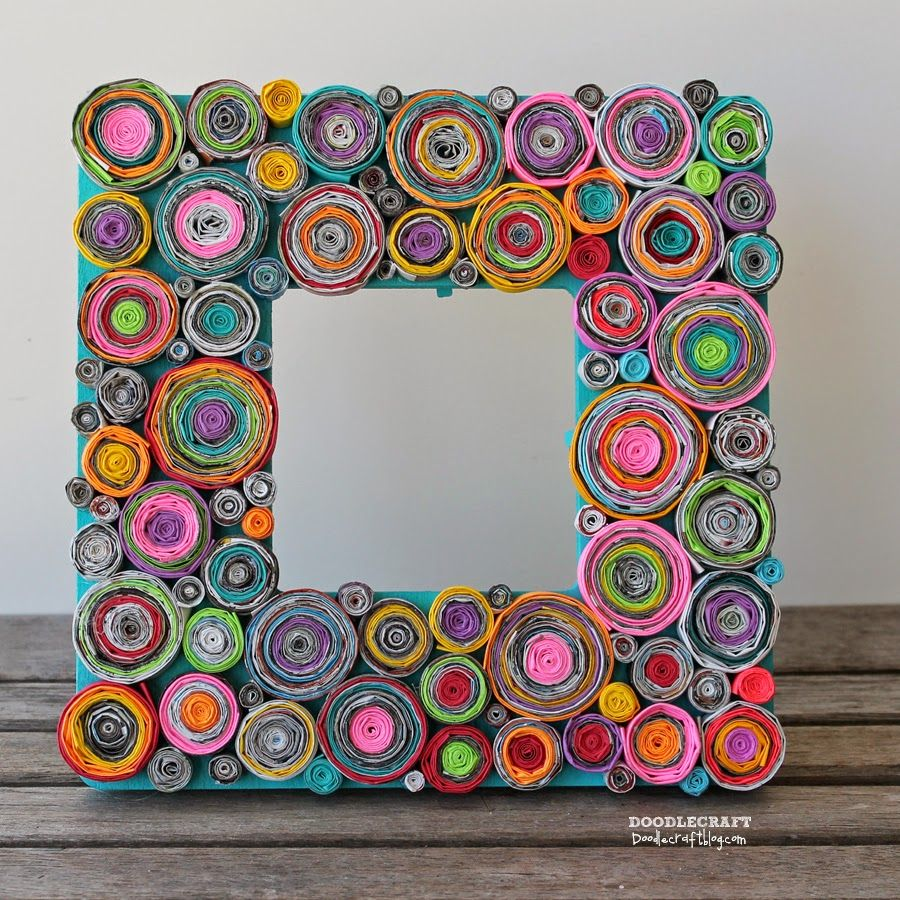 Upcycled Rolled Paper Frame Diy Craft Recycled Magazine Crafts