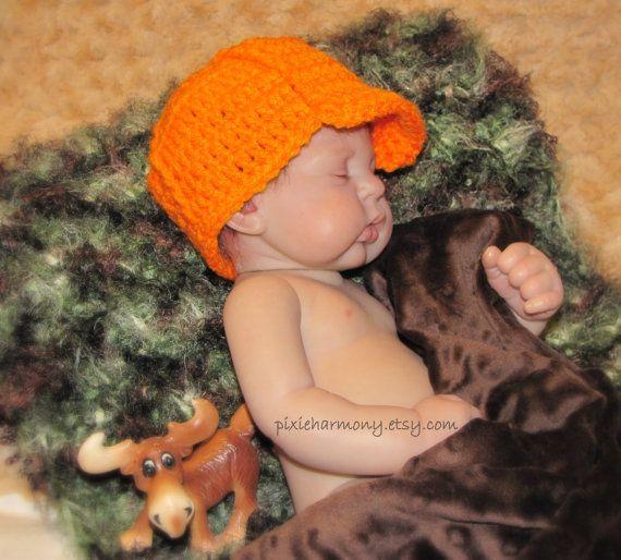 Baby Boy Hunter HAT - Newborn Photo Prop - Orange - Hunting #boydollsincamo