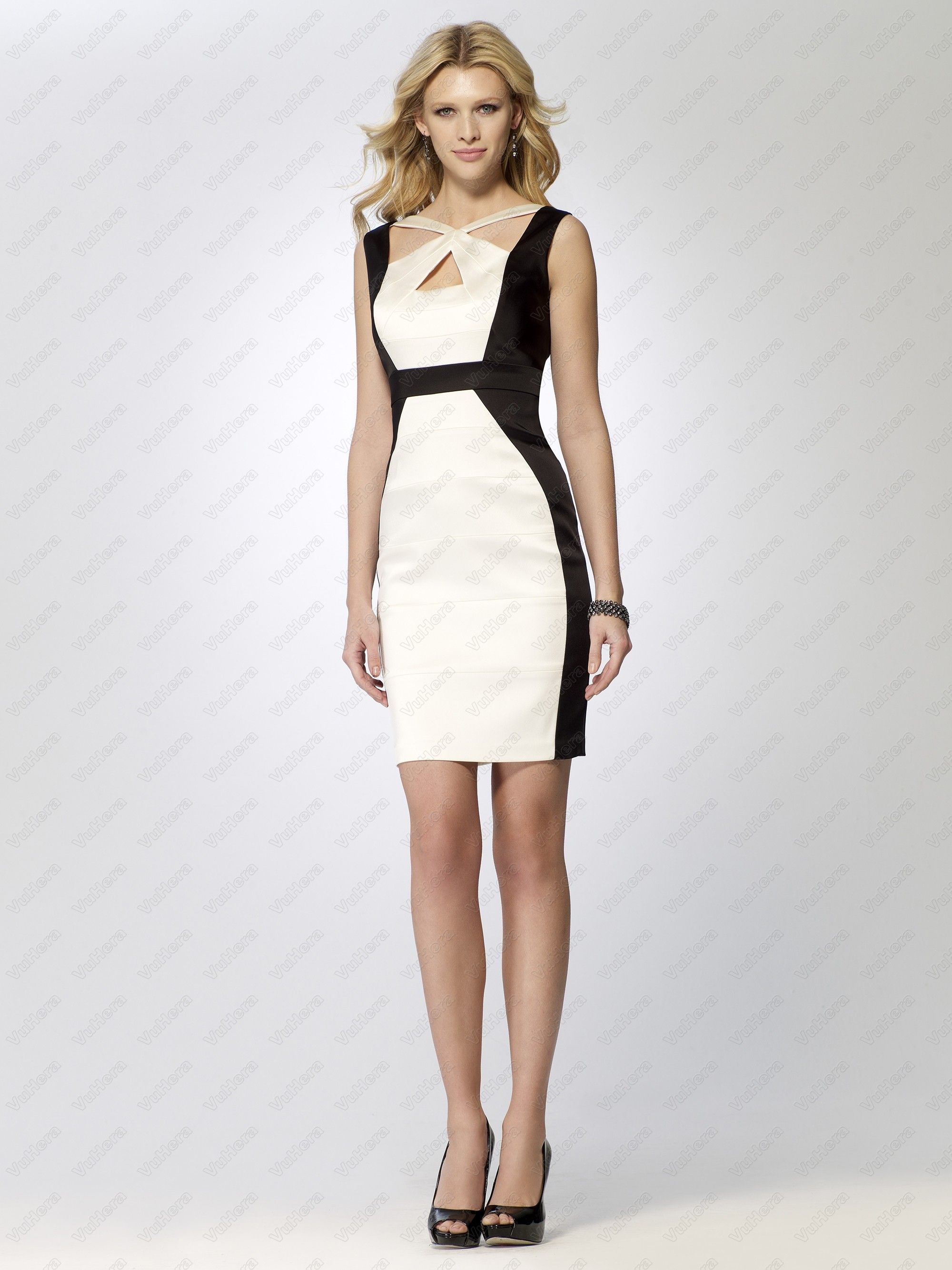 Stretch satin color block dress dress