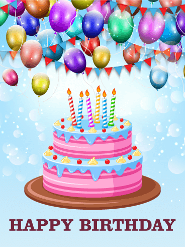 Lets Celebrate With Delicious Cake Happy Birthday Card Happy