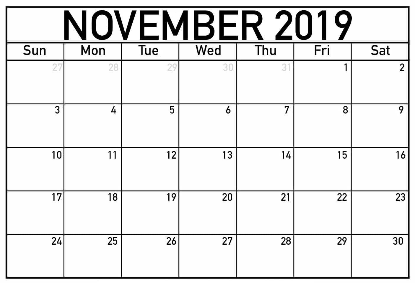 November 2019 Calendar Template Word 2019 Calendar September