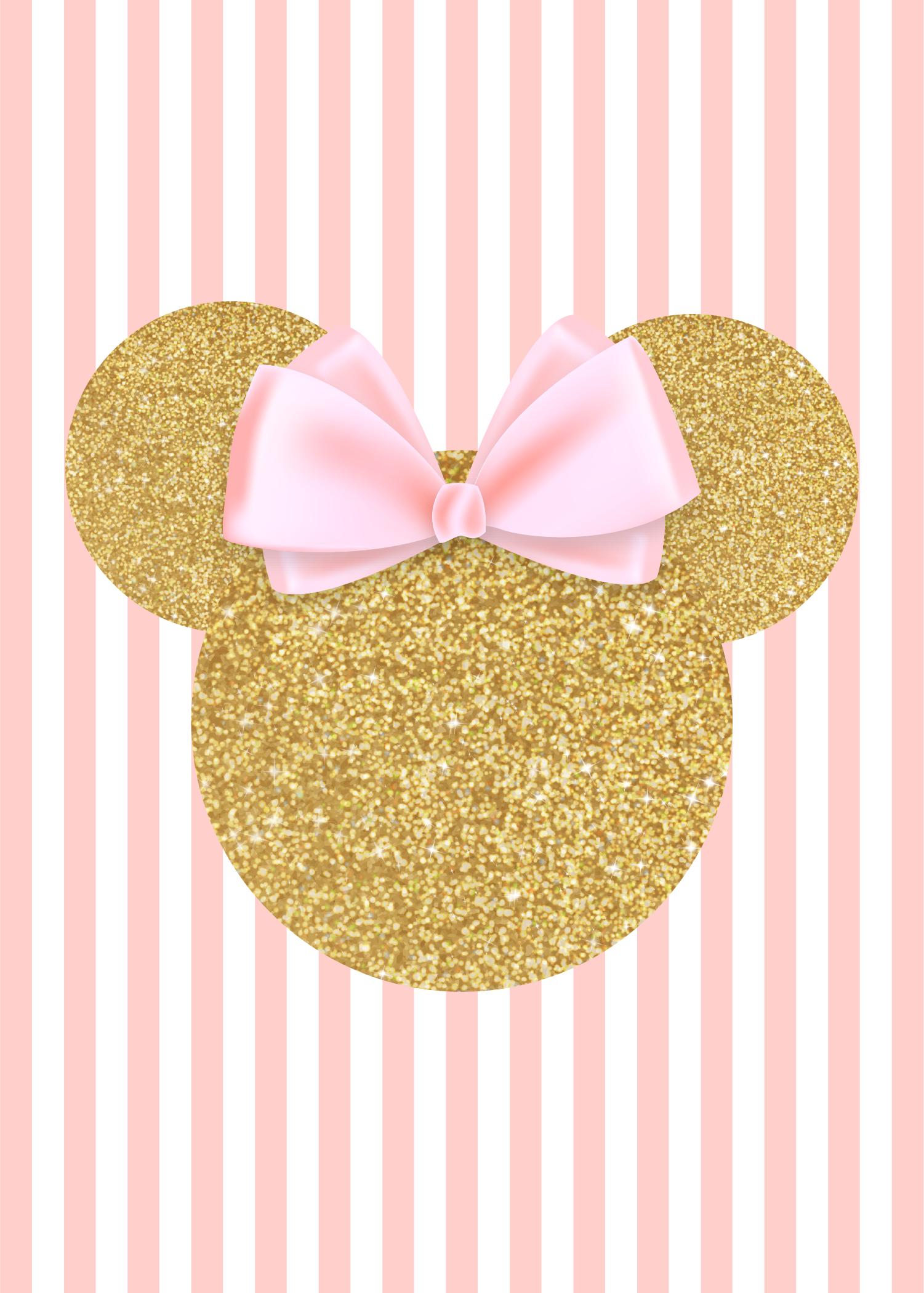Invitation Back Minnie Mouse Gold And Pink Pinterest