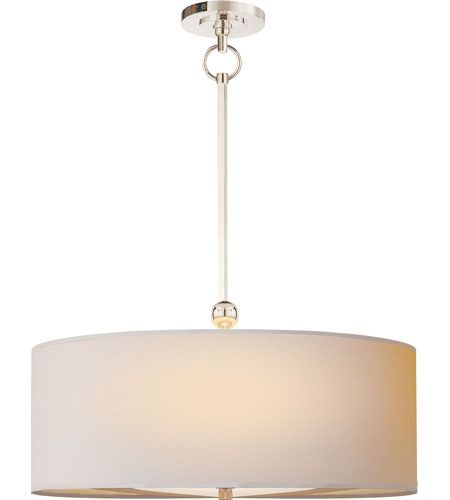 Visual comfort tob5011pn np thomas obrien reed 2 light 22 inch polished nickel hanging shade ceiling light in natural paper